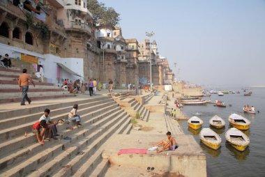 boats  at Varanasi Ganges river , Uttar Pradesh, India