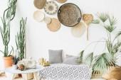 Fotografie Modernes minimal home Interior Design. Kissen, goldene Teekanne, Stroh zierteller, skandinavischen Decke, tropische Palme, saftig und Dekorationen