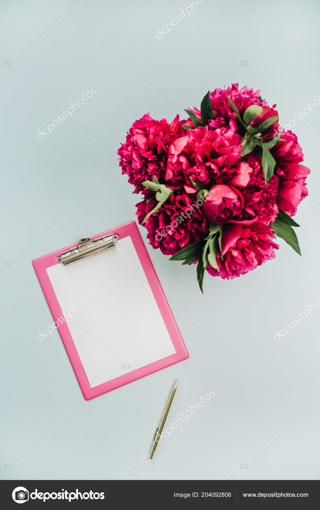 Minimalist Flat Lay Office Table Desk With Clipboard, Peony Flowers Bouquet  On Blue Background. Top View Work Concept Mock Up. U2014 Foto Von  Maximleshkovich