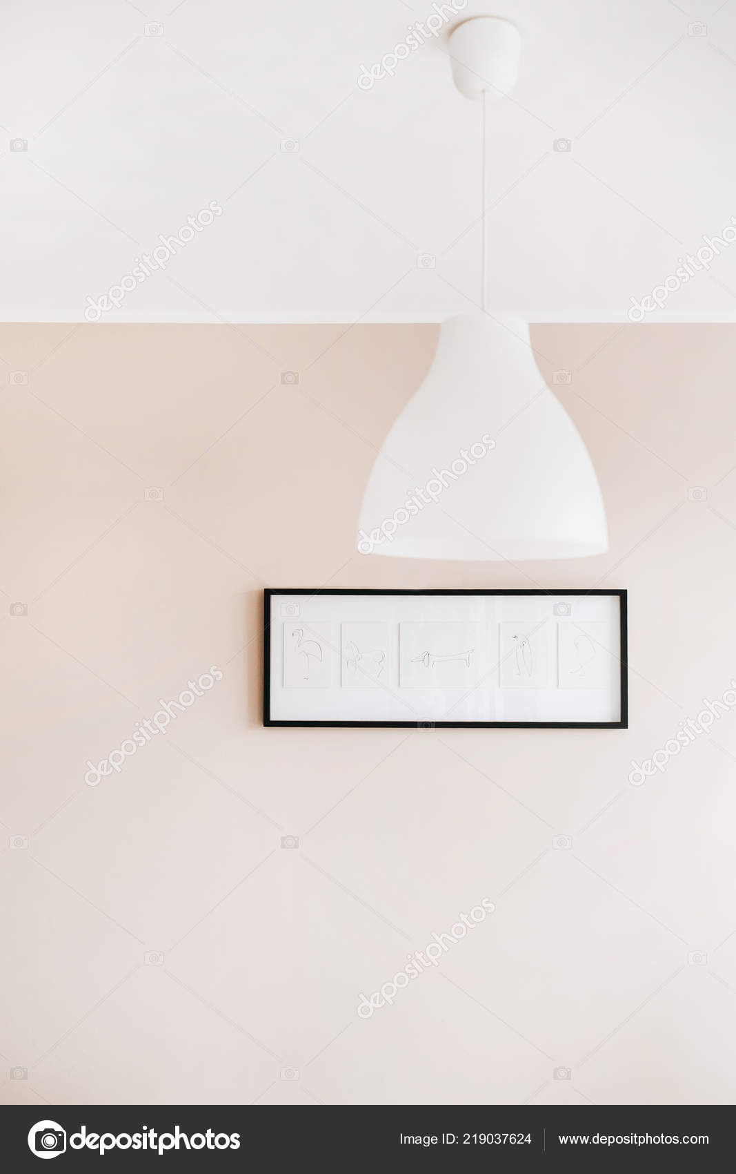 Pastel Pink Walls Minimalistic Interior Living Room White Lamp