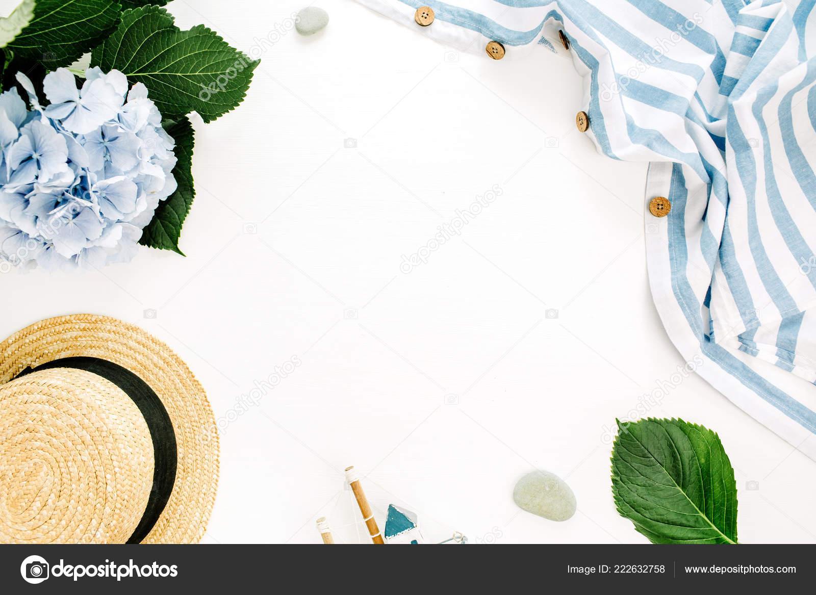 Borda Quadro Com Espaço Cópia Flor Azul Hortênsia Cobertor Listrado ... e2f53dcc279