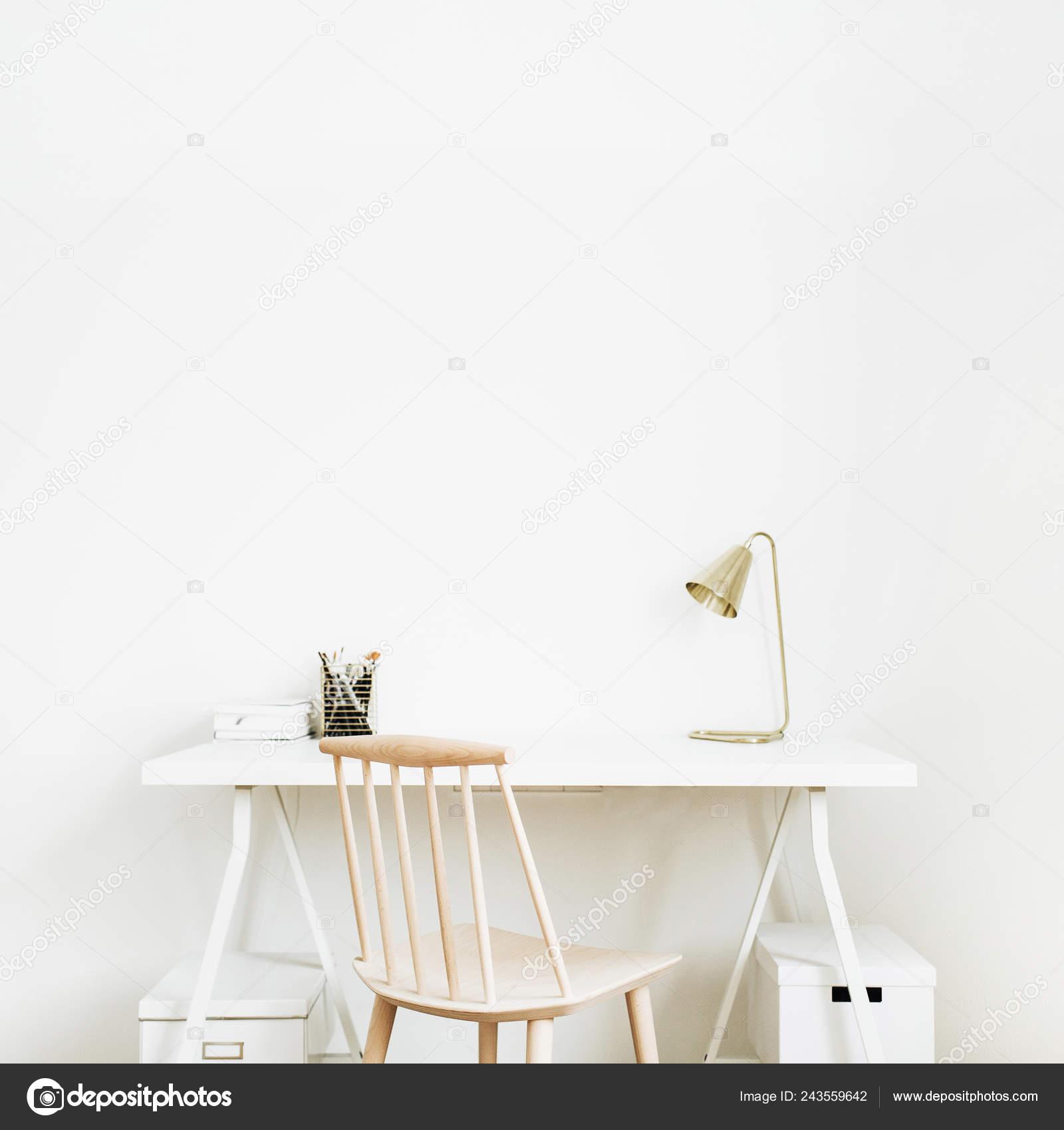 Bright Home Office Desk Workspace Nordic Modern Minimal Interior Design Stock Photo Image By C Maximleshkovich 243559642
