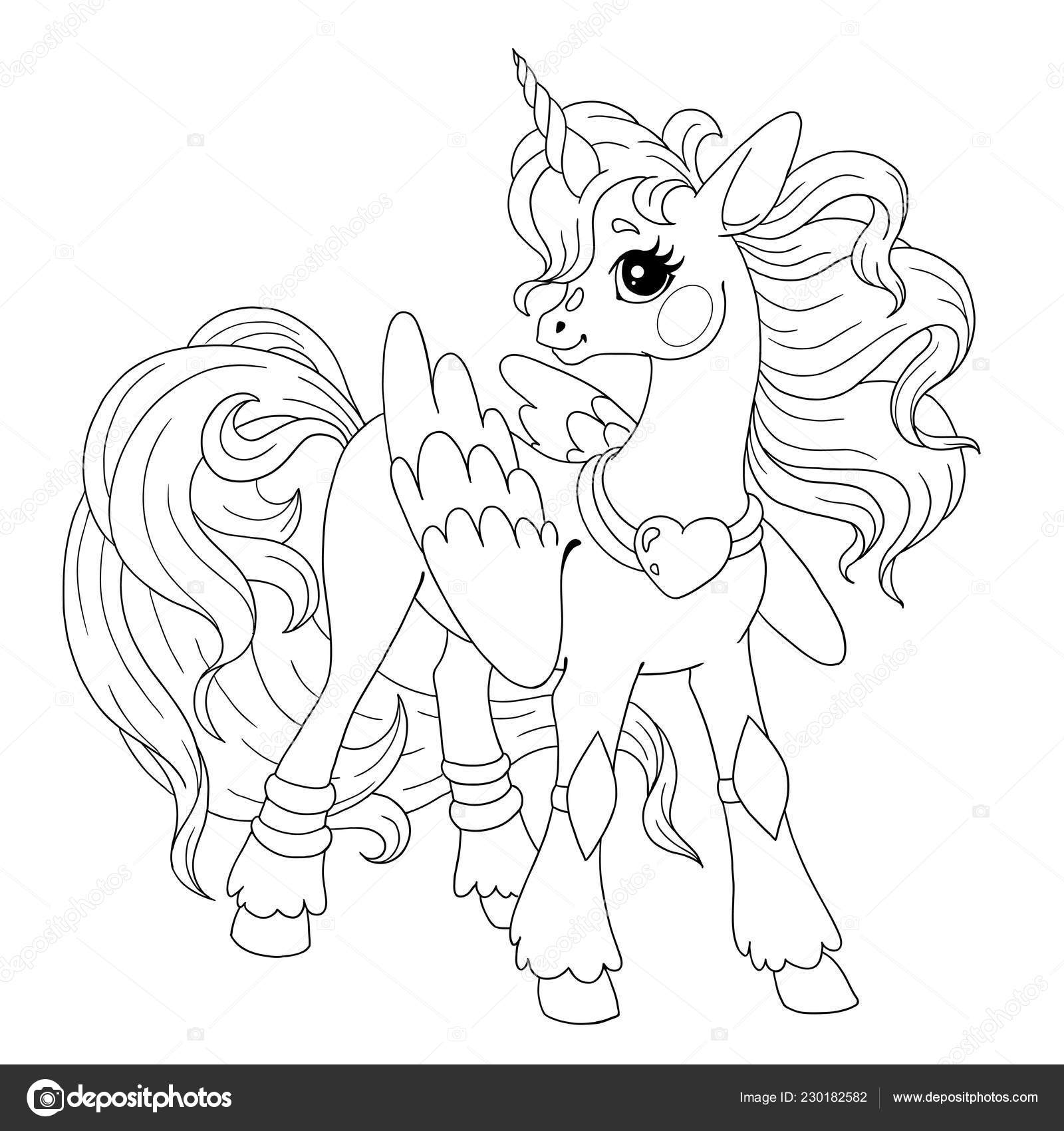 Personaje Dibujos Animados Para Colorear Libro Doodle Pony Unicornio