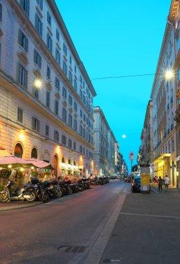 Rome,Italy-July 28,2018: Night view around Cavour street and Giovanni Amendola street, Rome