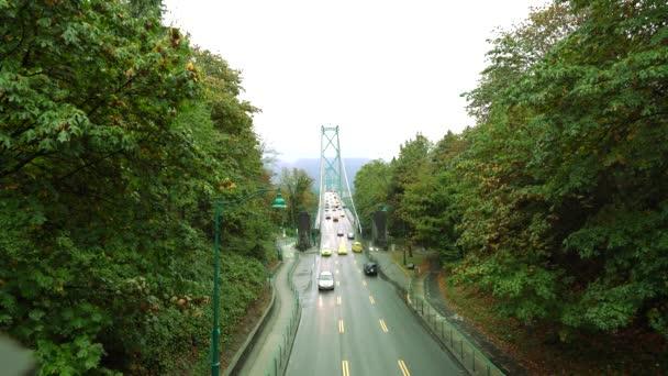 Vancouver, Kanada-září 9, 2018: Lions Gate Bridge nebo první Narrows Bridge ve Vancouveru při pohledu z Stanley Park