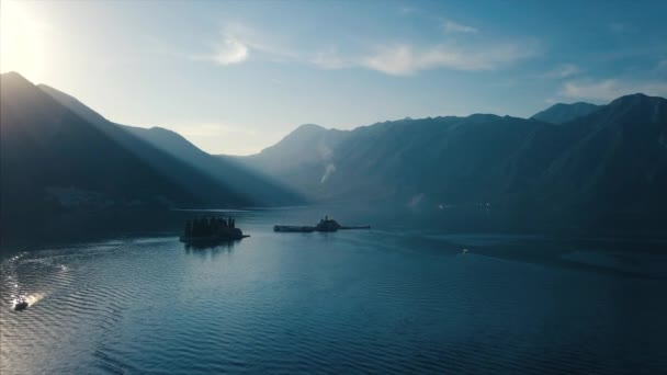 Aerial view of the Island of Sveti Djordje in the Kotor Bay near Perast town - Montenegro