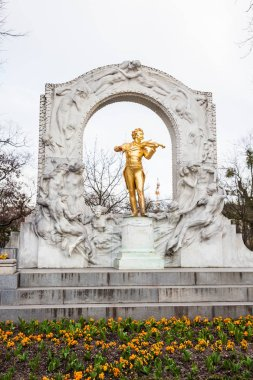 VIENNA, AUSTRIA - APRIL, 2018: Monument to Johann Strauss II at Stadtpark in a cold early spring day