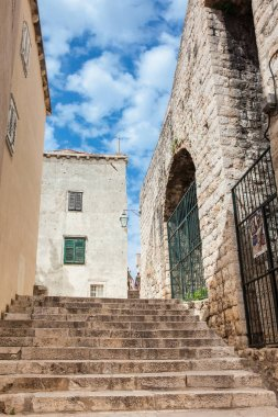 The beautiful steep alleys at the walled old town of Dubrovnik