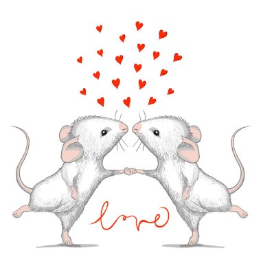 Valentine card with loving mice and calligraphy word LOVE