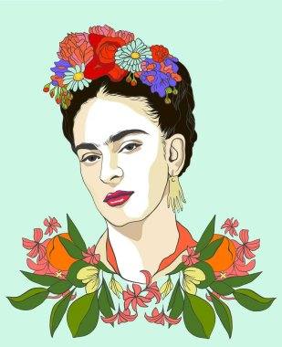 Magdalena Carmen Frida Kahlo portrait with citrus fruits and flowers