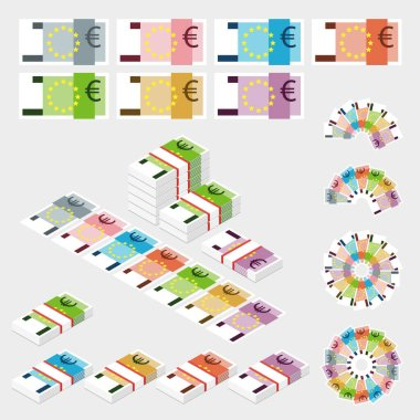 Set of money isolated on light background. Euro banknotes packed in bundles. Flat style. icon
