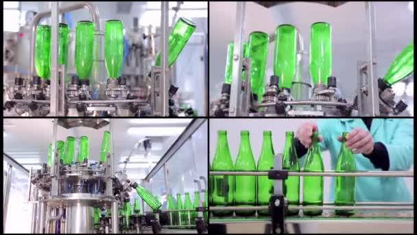 Collage Linie der Wasserproduktion. grüne Flaschen für Mineralwasser bewegen sich entlang der automatischen Produktionslinie. Wasserleitung