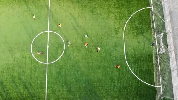 A group of children playing football on a new field with artificial turf. The player scores a goal against an opponent