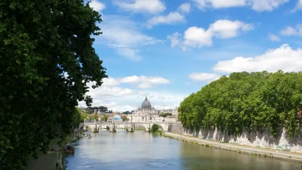 View from the bridge to the Tiber river and Vatican city in Italy. Historical landmarks of the Ancient Rome , travel destination.