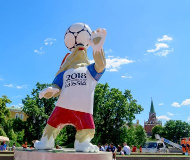 Moscow, Russia. June, 20, 2018 The official mascot of the 2018 FIFA World Cup wolf Zabivaka near the Moscow Kremlin
