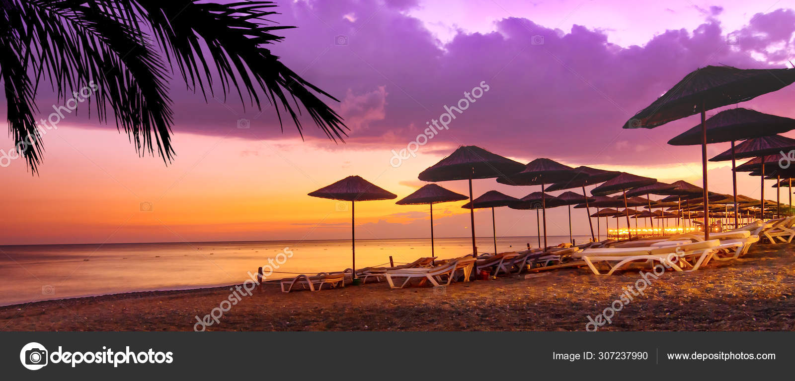 Coral Purple Sunset On The Tropical Beach Stock Photo