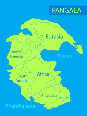 Pangaea or Pangea. Vector illustration of supercontinent that existed during the late Paleozoic and early Mesozoic eras. Map of green ancient continent and ocean in flat style. Poster. Education