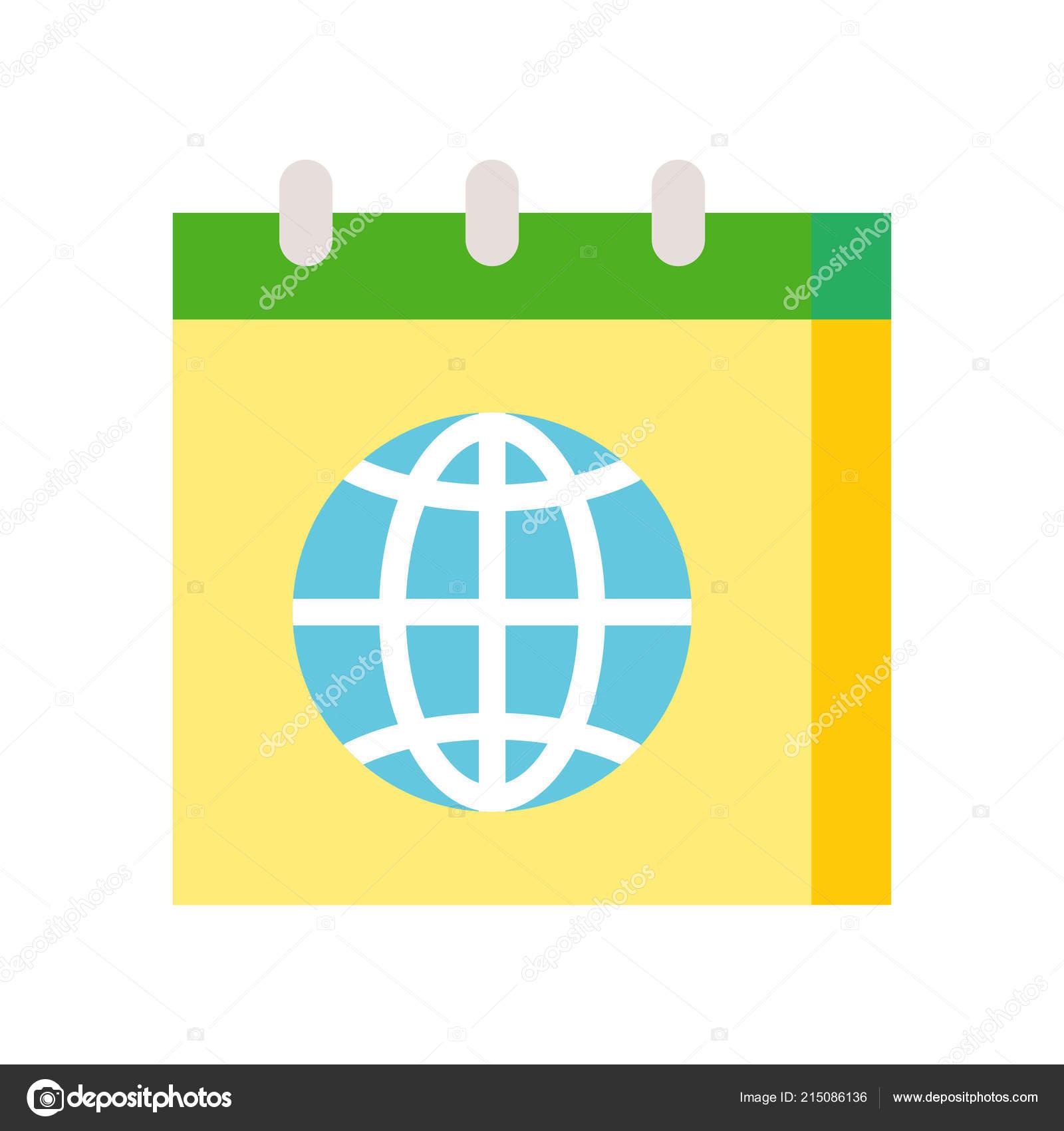 wall calendar earth model isolated white environment protection concept —  stock vector