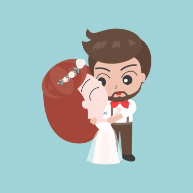 Kissing groom and bride on blue background clip art vector