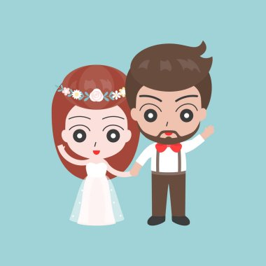 Marriage couple holding hands on blue background clip art vector