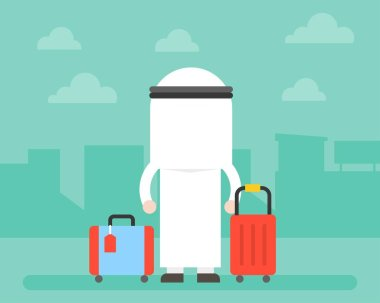 Back side of Arab Business man and luggage with building background, startup or journey concept, flat design