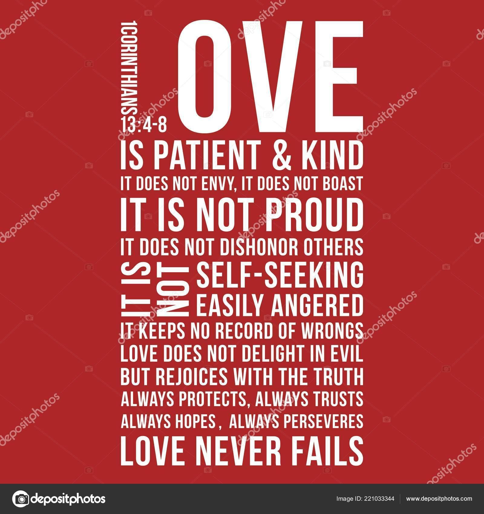 Frase Bíblica Corintios Amor Nunca Falla Diseño Tipografía