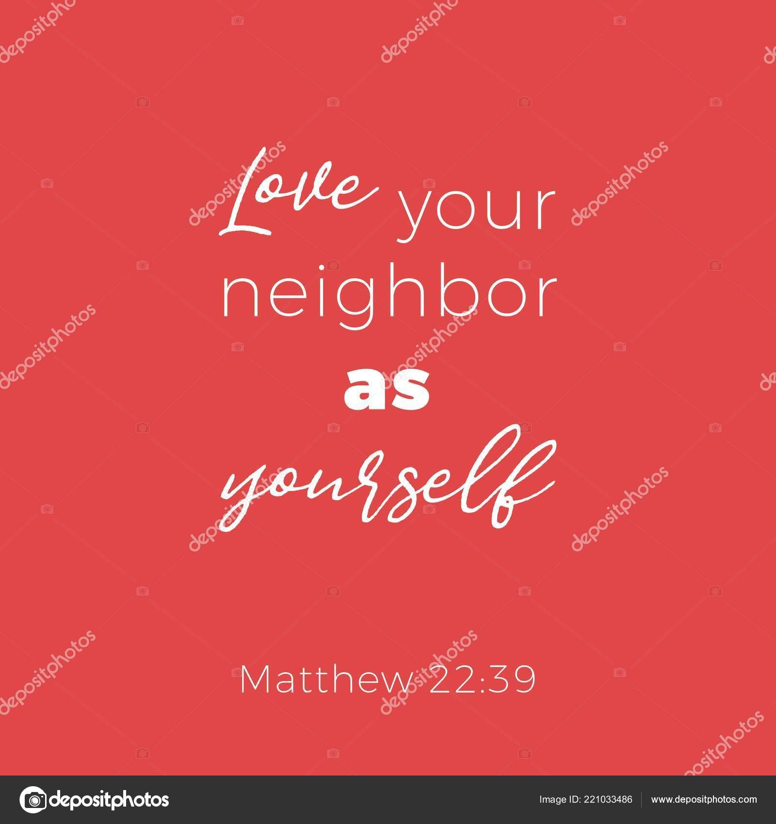 Frase Bíblica Mateo Amor Vecino Como Mismo Diseño Tipografía