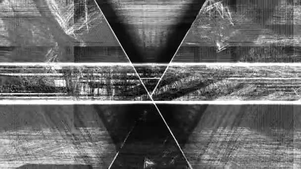 Počítač generoval animaci geometrických trojúhelníkových tvarů a čar v plynulém pohybu tunelu