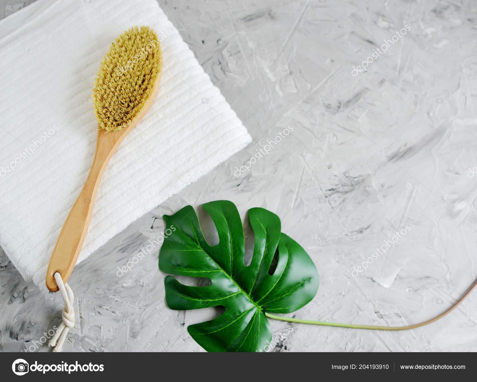Natural Organic Wooden Body Massage Brush White Towel Home Spa