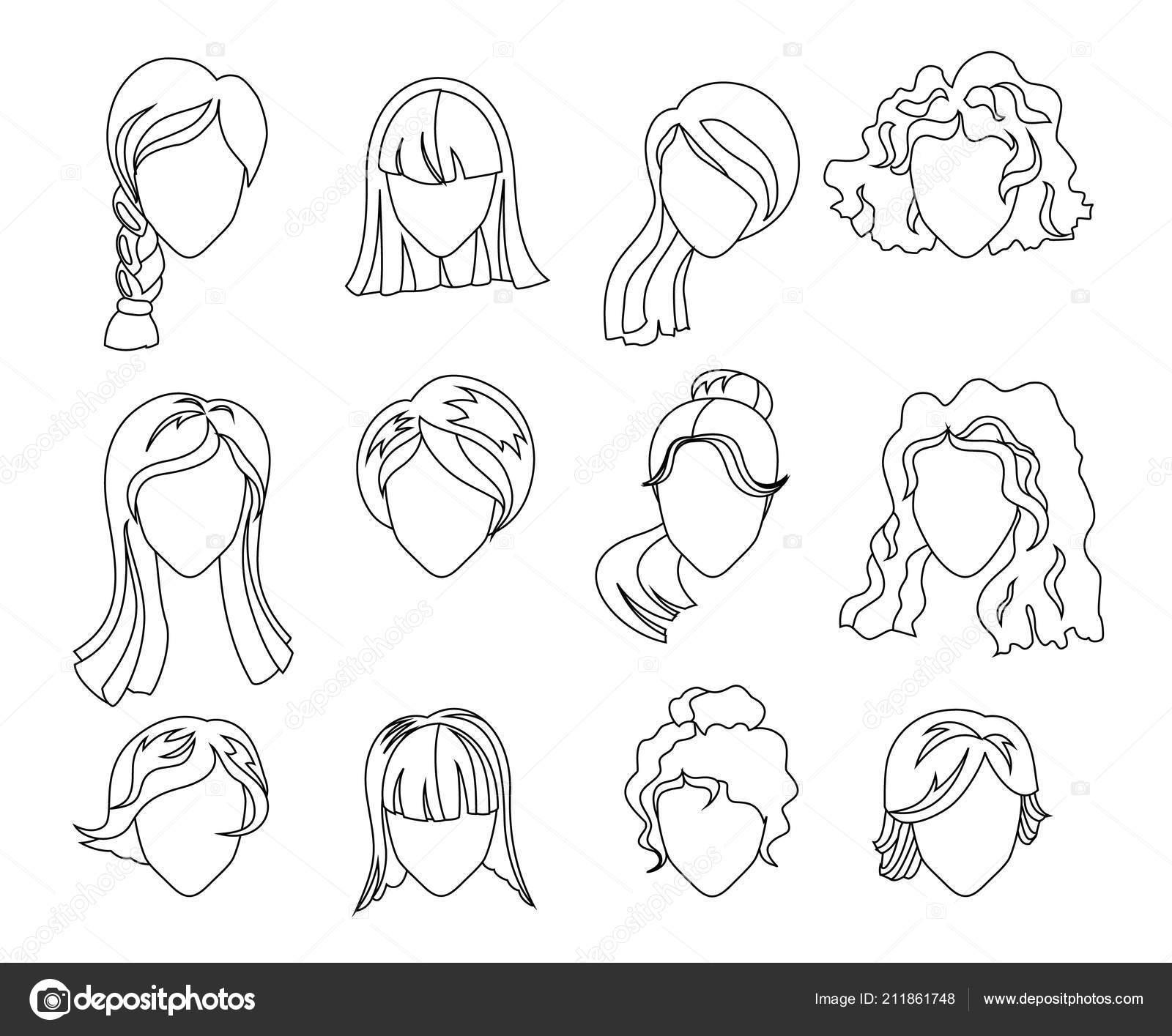 Saç Siluet Küme Kadın Kız Erkek Saç Yüz Boyama Kitabı Için