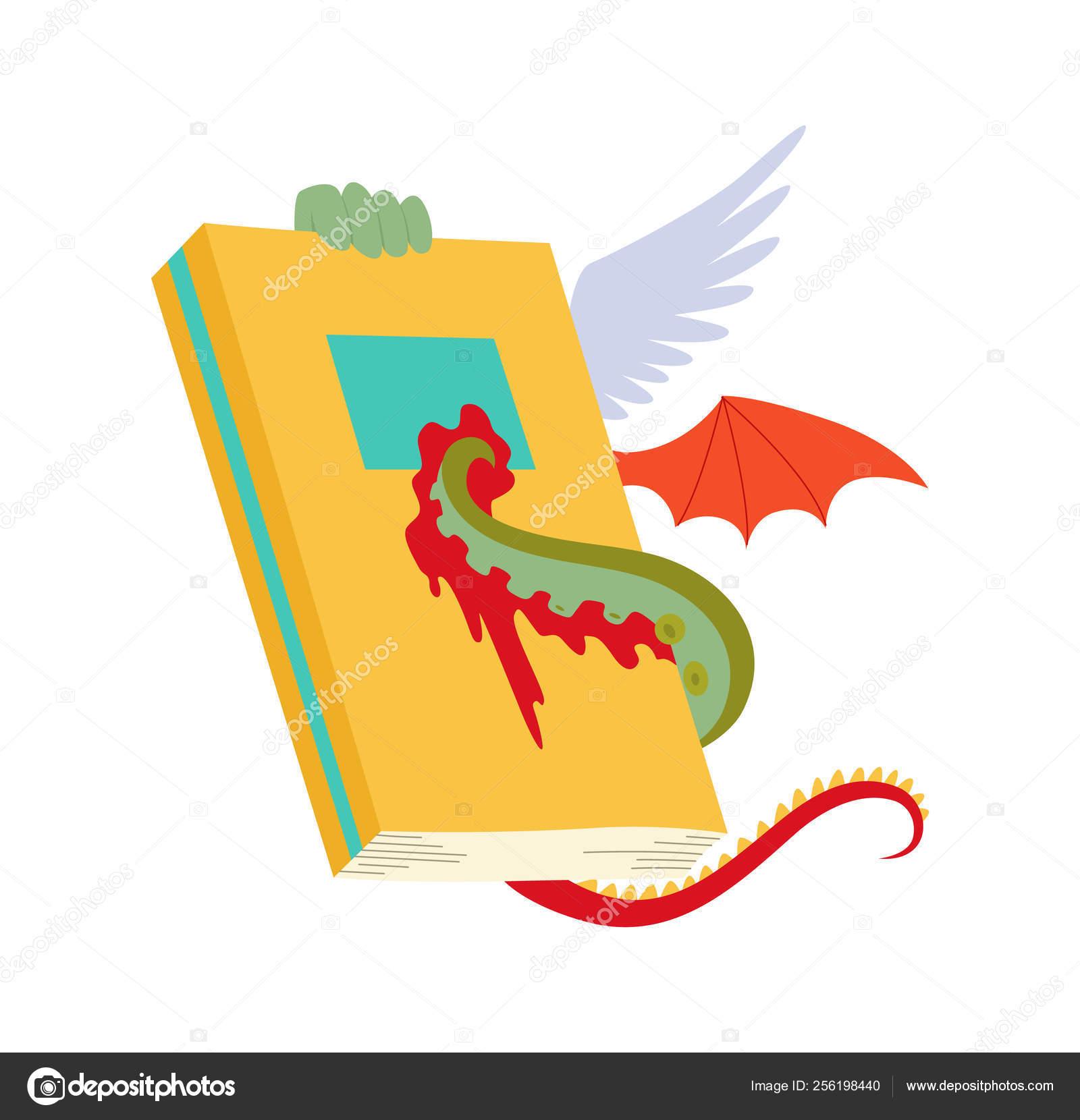 Libro Antiguo Con Alas De Dragon Y Tentaculos De Pulpo Aislados