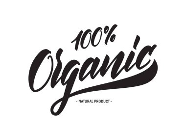 Handwritten tag lettering of 100 percent Organic Natural Products.