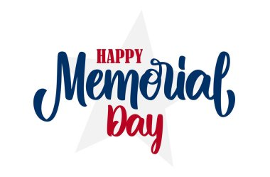 Vector illustration: Calligraphic handwritten lettering composition of Happy Memorial Day on white background