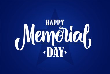 Vector illustration: Calligraphic lettering composition of Happy Memorial Day on blue background