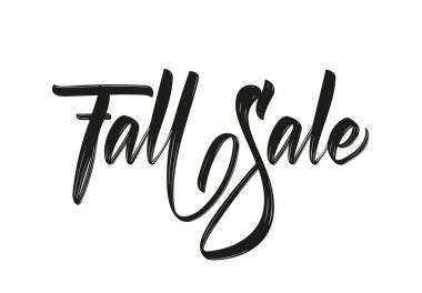 Vector illustration: Handwritten brush lettering of Fall Sale. Discount special offer template