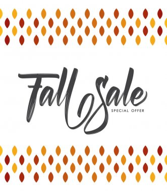 Vector illustration: Offer poster with Handwritten lettering composition of Fall Sale