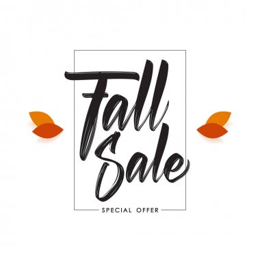 Vector illustration: Offer poster template with Handwritten lettering composition of Fall Sale.