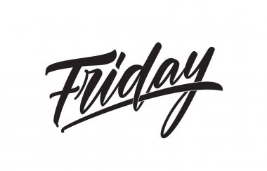 Vector illustration: calligraphic type lettering of Friday