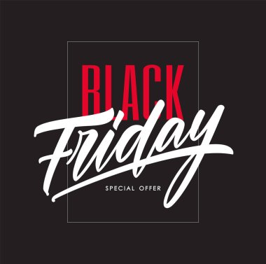 Vector illustration: Poster template with hand lettering of Black Friday in frame on dark background. Special offer