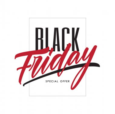 Vector illustration: Poster template with hand lettering of Black Friday in frame on white background. Special offer