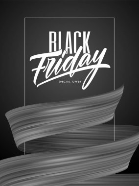 Vector illustration: Black Friday Sale poster with flow ribbon and type lettering composition