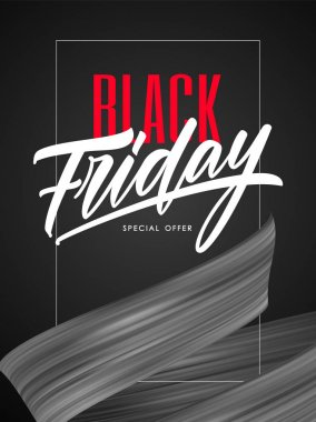 Vector illustration: Sale poster with type lettering composition of Black Friday and flow ribbon