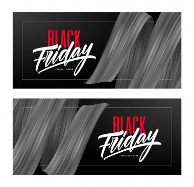 Vector illustration: Two Sale banner with type lettering composition of Black Friday and flow ribbon