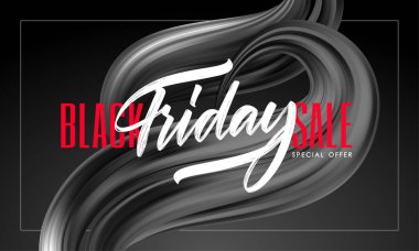 Discount background with type lettering composition of Black Friday Sale and brushstroke twisted liquid shape.