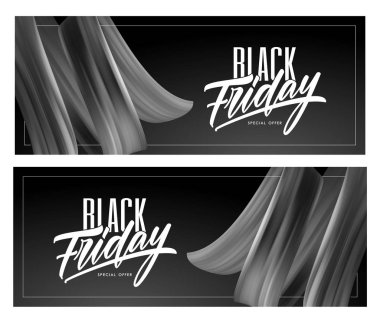 Two Sale banner with type lettering composition of Black Friday and brushstroke twisted liquid shape