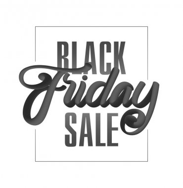 Vector illustration: 3D Typography lettering composition of Black Friday Sale on white background.