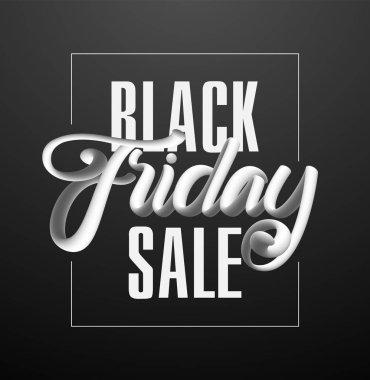 Vector illustration: 3D Typography lettering composition of Black Friday Sale on dark background.