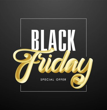 Vector illustration: Handwritten 3D golden calligraphic lettering of Black Friday Special offer on dark background.