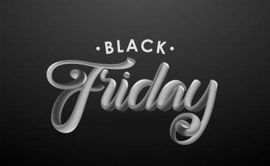 Vector illustration: Handwritten 3D chrome calligraphic lettering of Black Friday on dark background.
