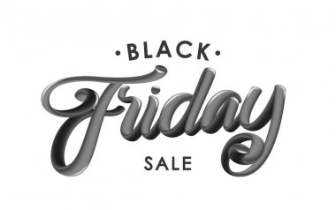 Vector illustration: Handwritten 3D glossy calligraphic lettering of Black Friday Sale on white background.